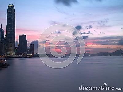 Hong Kong Modern Buildings at Sunset