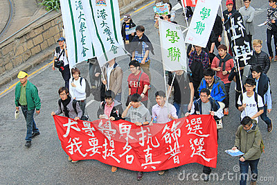 Hong Kong New year marches 2014 Editorial Photography