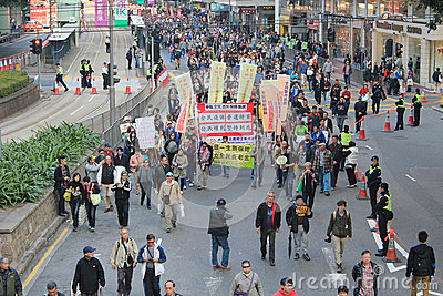 Hong Kong New year marches 2014 Editorial Stock Photo