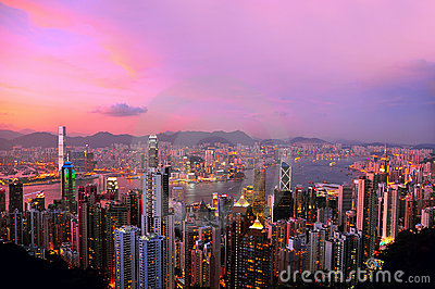 Hong kong at night Editorial Stock Photo