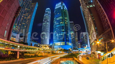 Hong Kong Night Cityscape Time-Versehen stock video footage