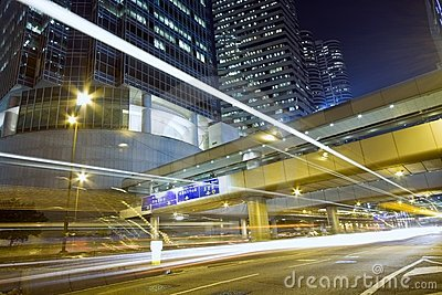 Hong Kong Night Scene with Traffic Light