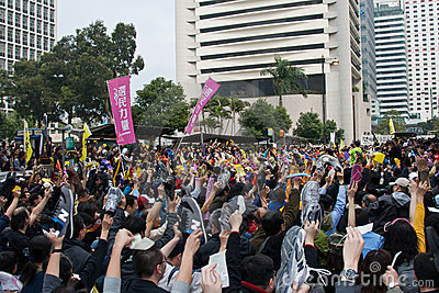 Hong Kong Protest against Budget Plan on 06 March Editorial Photo