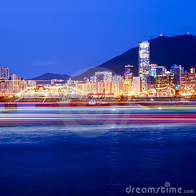 Hong Kong s Victoria Harbour at night