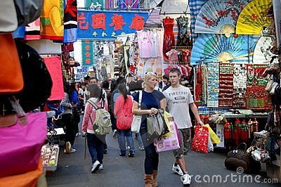 Hong Kong: Shoppers at the Ladies Mile Market Editorial Image