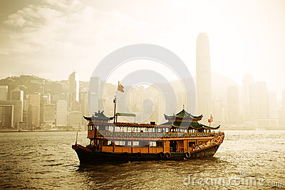 Hong Kong skyline with boats