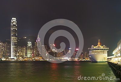 Hong kong skyline at evening