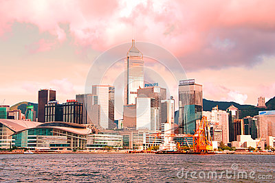 Hong Kong Skyline in Pink Tones at Sunset Editorial Photo