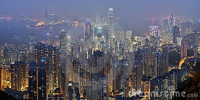 Hong Kong skyline from Victoria Peak at night