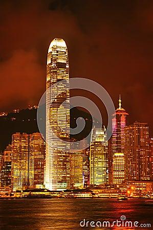 Hong kong skylines night view