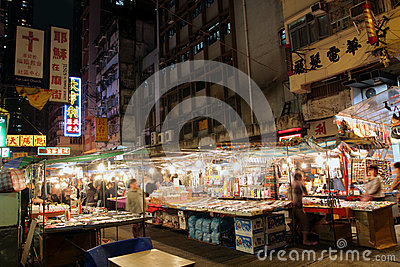 Hong Kong : Temple Street Editorial Stock Photo