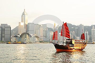 Hong Kong with tourist junk