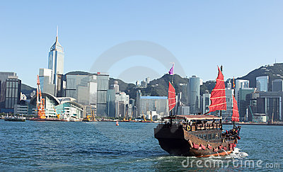Hong Kong and Tourists Junk