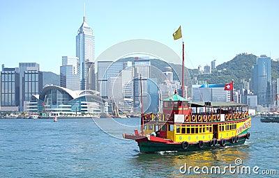 Hong Kong and Tourists Junk Boat