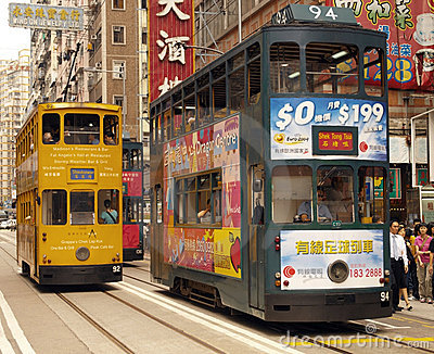 Hong Kong - Trams in Wanchi District Editorial Photography