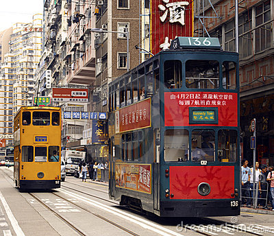 Hong Kong Trams in Wanchi District Editorial Photo