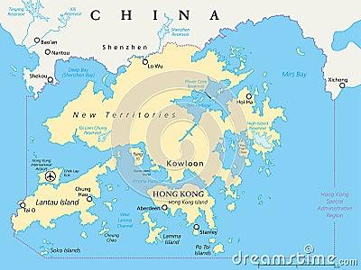 Hong Kong And Vicinity Political Map Stock Vector Image