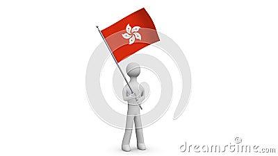 Hong Kong waving flag. 3d Man holding and waving Hongkong flag on transparent background. Loop. Alpha channel. Stock Photo
