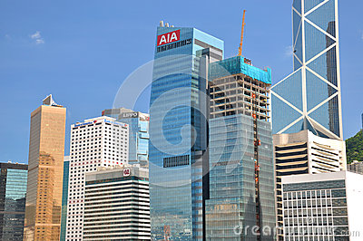 Hongkong bank buildings in business center Editorial Stock Photo
