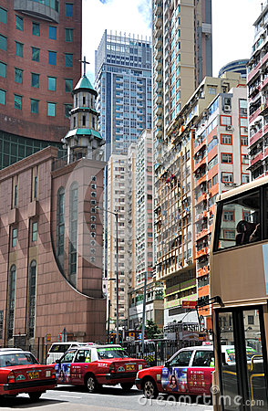 Hongkong building and street traffic Editorial Stock Image