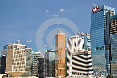 Hongkong business and bank buildings Editorial Image