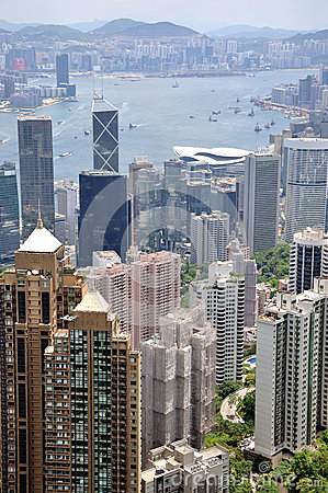 Hongkong center business area and Victoria harbor Editorial Stock Photo