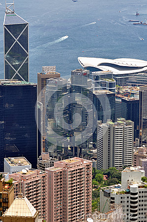 Hongkong center business buildings and harbor Editorial Stock Photo