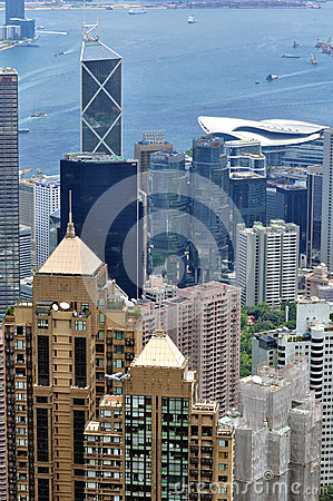 Hongkong center city beside Victoria harbor Editorial Stock Image