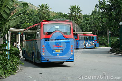Hongkong disneyland shuttle bus. Editorial Photo