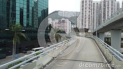 Hongkong Highway-Brücke über Hafen stock video