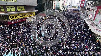 Hongkong-Marsch gegen Regierung und Polizei stock video