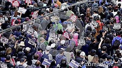 Hongkong-Marsch gegen Regierung und Polizei stock video footage