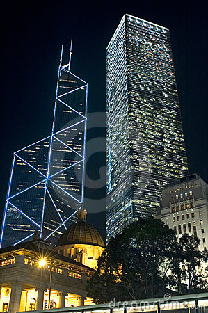 Hongkong - skyscrapers by night
