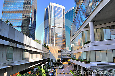 Hongkong, street among modern buildings Editorial Image