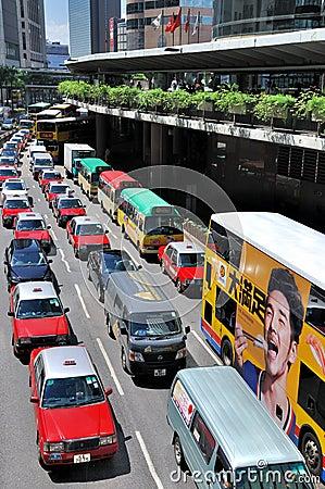 Hongkong traffic in center area Editorial Stock Photo