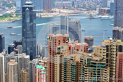 Hongkong view, city buildings and harbor Editorial Stock Image