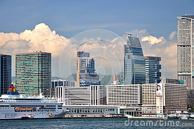 Hongkong West Kowloon modern buildings beside sea Editorial Stock Photo