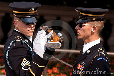 Honor guard, The Tomb of the Unknowns in Arlington Editorial Stock Photo