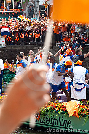 Honouring of the Dutch soccer team Editorial Stock Photo