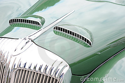 Hood of classic car