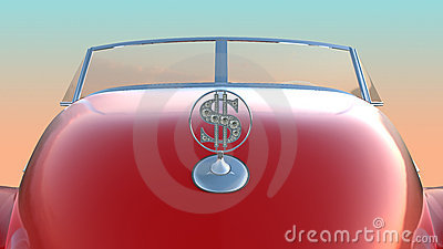 Hood and windscreen of red retro car