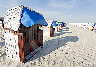 Hooded beach chairs at the baltic sea