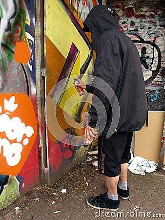 Free Hooded Graffiti Artist Stock Photography - 14602432