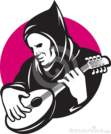 Hooded Man Playing Banjo Guitar