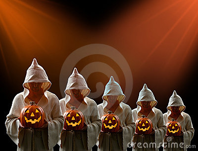 Hooded Men and Jack-0-Lantern