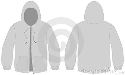 Hooded sweater with zipper vector template