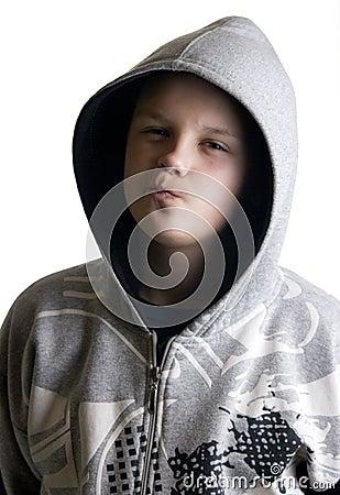 Hooded teenage boy