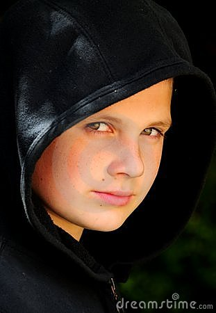 Hooded teenager