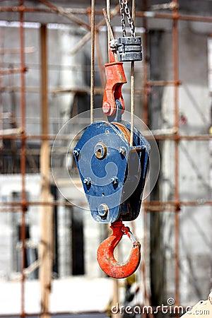 A  hook of a crane