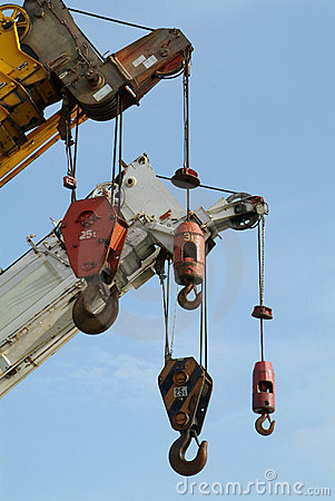 Free Hooks Of Several Mobile Cranes Stock Image - 685581